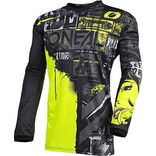 O'Neal   Camiseta de Motocross Manga Larga   MX Enduro   Protección Acolchada para los Codos, Cuello en V, Transpirable   Camiseta Element Youth Ride para niños   Negro Neón Amarillo   Talla M