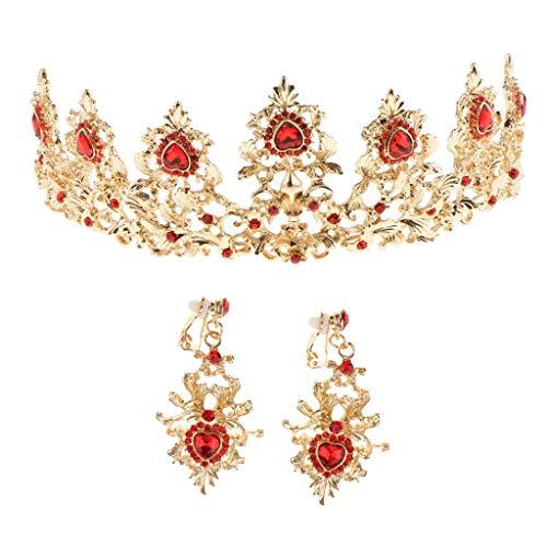 Tubayia - Juego de Joyas para Mujer, Corona de Cristal, Cinta para la Frente y Pendientes para Boda, Compromiso, Banquete