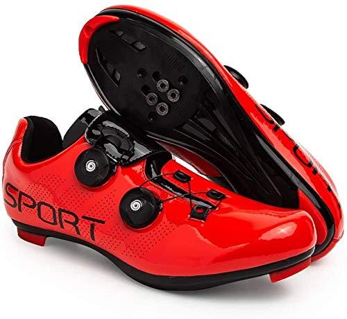 KUXUAN Zapatillas de Ciclismo Zapatillas de Ciclismo de Carretera para Hombre y Mujer - con Zapatillas de Bicicleta con Pedal SPD y Delta Lock,Red-43