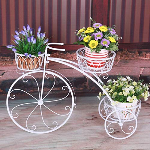 LAL6 3 Niveles De Macetas De Plantas Soporte Moderno Jardín Decorativo Terraza Pequeños Soportes De Bicicletas Hält 3 Macetas,White