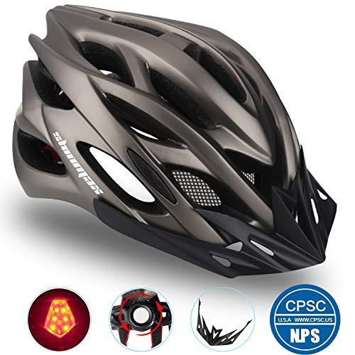 Casco Bicicleta/Casco Bicic con Luz LED,Certificado CE,Casco Ciclismo con Visera y Forro Desmontable...*