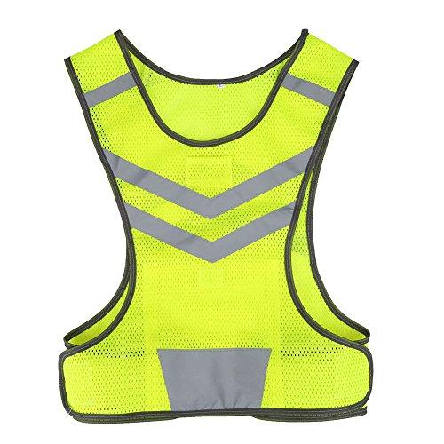Chaleco Reflectante de Seguridad ,Chaleco Reflectante Bicicleta Ciclismo Ajustable Alta Visibilidad Deportes reemplazo para Al Aire Libre Correr Senderismo Footing Mujer Hombre ,Amarillo Fluorescente