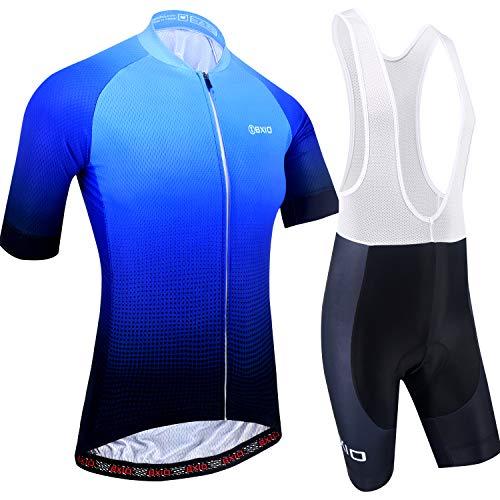 Maillot Ciclismo Hombre, Ropa Ciclismo y Culotte Ciclismo con Culotte Pantalones Acolchado 3D Deportes al Aire Libre Ciclo Bicicleta 198 (Blue Color, 3XL)