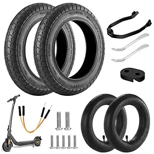 Oryidr Ruedas de Repuesto para Scooter eléctrico, Kit ruedas 10 pulgadas completo,Con soporte refuerzo para guardabarros,Compatible con Xiaomi M365 /M365 Pro