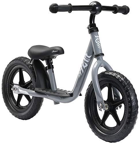 LÖWENRAD Bicicleta sin Pedales para niños y niñas a Partir de 3 - 4 año, Bici 12' Ligero (3KG) con sillín y manubrio Regulable, Gris