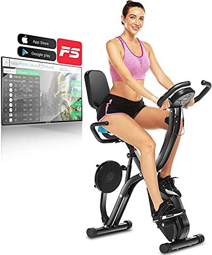 ANCHEER Bicicleta estática con conexión a la aplicación, peso de apoyo de 125 kg, plegable, con resistencia magnética ajustable de 10 niveles, plegable, medición de pulso, ahorra espacio