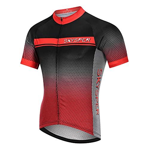 SKYSPER Maillot Ciclismo Hombre Camiseta Ropa de ciclismo Manga Corta Ropa Ciclista para Bicicleta...*
