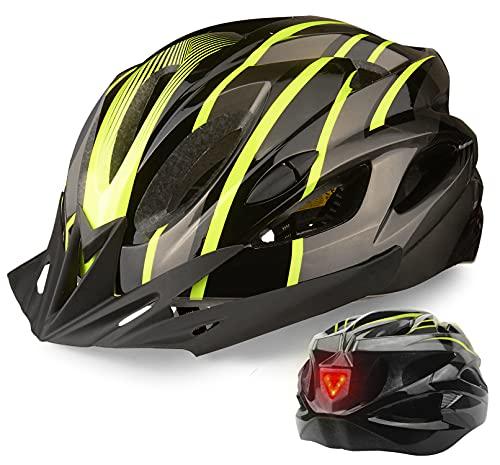 Casco de Bicicleta, Shinmax Casco de Ciclismo Certificado CE Casco MTB Hombre Mujer con Luz Trasera...*