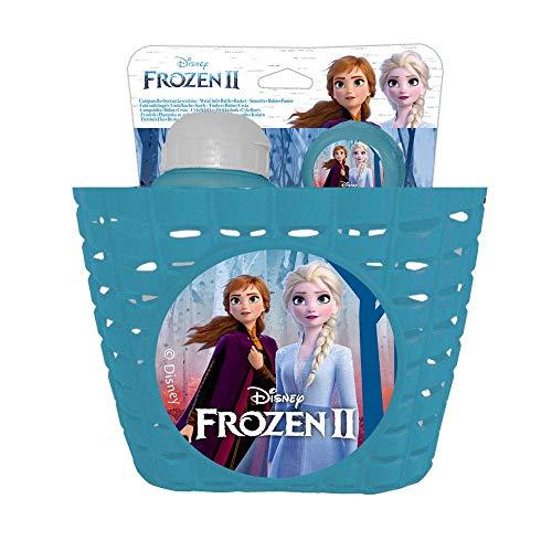 Disney Frozen II - Juego de Cesta/Botella de 380 ml/Timbre metálico - Accesorios para Bicicleta Infantil, Azul, Universal