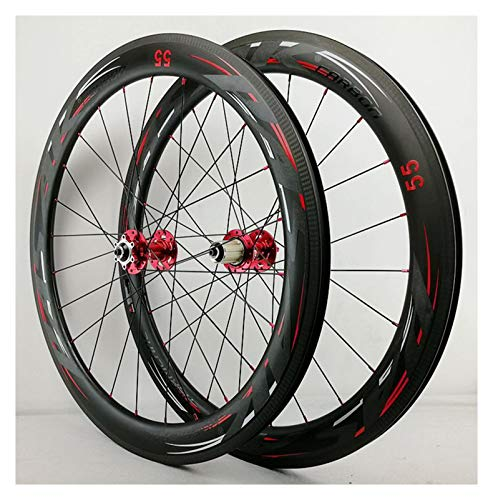 ZCXBHD 700C Bicicleta De Carretera Juego De Ruedas Fibra Carbon Freno De Disco Liberación Rápida 7/8/9/10/11 Velocidad Volante Aleación Aluminio Ruedas (Color : Red, Size : 55MM)