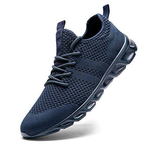 Zapatillas de Running para Hombre Casual Tenis Asfalto Zapatos Deporte Fitness Gym Correr Gimnasio Deportives Transpirables Seguridad Atlético Trekking Bambas Plataform Sneakers Azul 46 EU