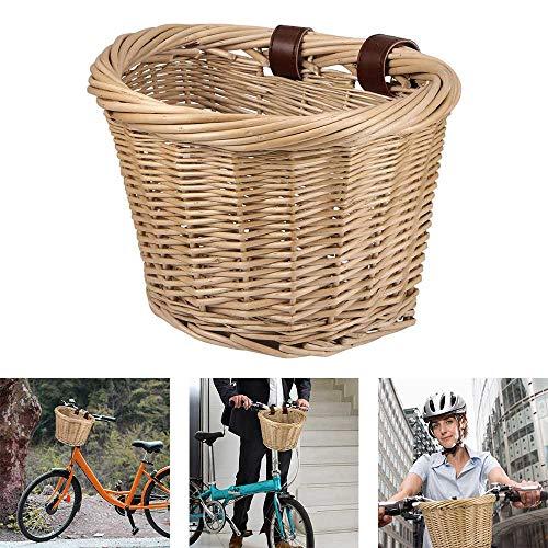 Laiashley Cesta de Mimbre para Bicicleta en Forma de D, Cesta de Manillar Delantera para Bicicleta,...*