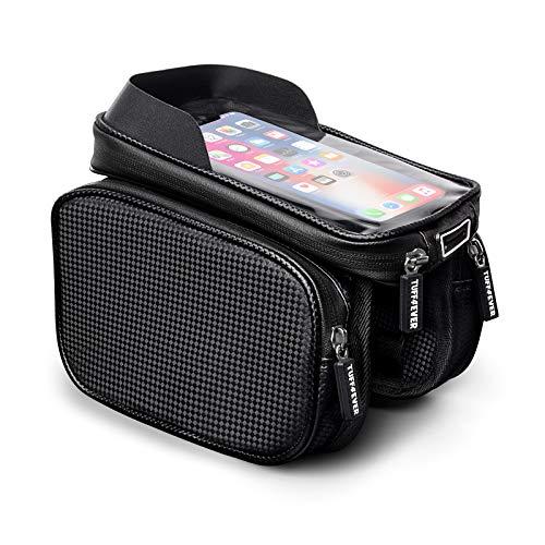 Tuff4ever Bolsas de Bicicleta, Bolsa Táctil de Tubo Superior con Soporte para Teléfono, Bolsa Impermeable de Gran Capacidad para iPhone Samsung y Otros Teléfonos Inteligentes de Menos de 6,8 '
