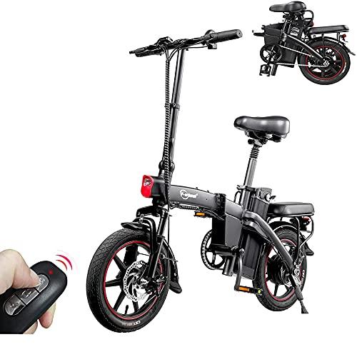 DYU Bicicleta eléctrica Plegable de 14 Pulgadas City E-Bike para Adulto Plegable, Potente Motor de 350 W, Velocidad de hasta 25 km/h, extraíble 48 V 7.5 Ah, batería de Litio Recargable