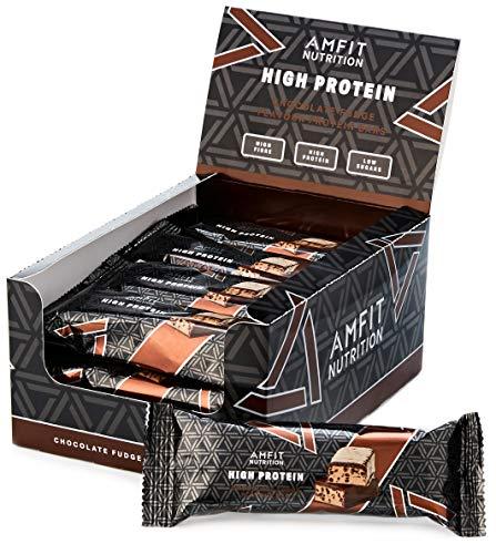 Marca Amazon - Amfit Nutrition Barrita de proteína baja en azúcar (19,6gr proteina - 0,8gr azúcar) - fondant de chocolate - Pack de 12 (12x60g)
