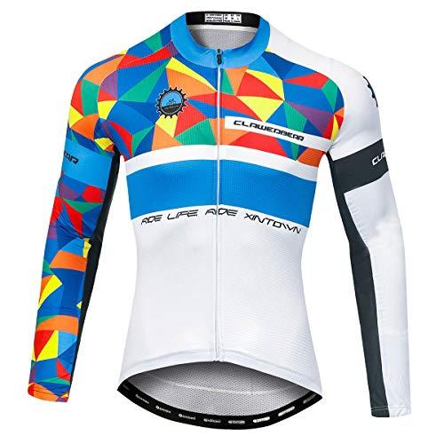 Panegy Hombres Chándales Estampados Cremallera para Bicicleta Chaqueta de Ciclismo Mangas Largas Sudadera Deportiva Delgada Transpirable Color Azul Blanco Talla M