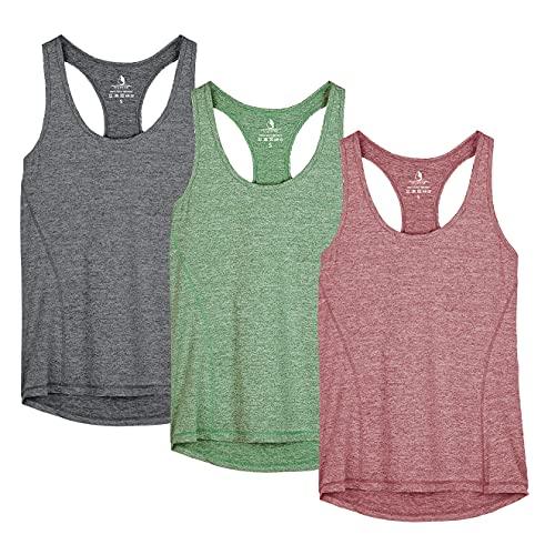 icyzone Camiseta de Fitness Deportiva de Tirantes para Mujer, Pack de 3...*