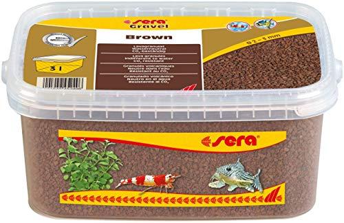 Sera Gravel Brown (Ø 2 – 3 mm) – Grava marrón para Todos los acuarios – Libre de contaminantes – Adecuado como Grava de gamba, 3 litros, 32259