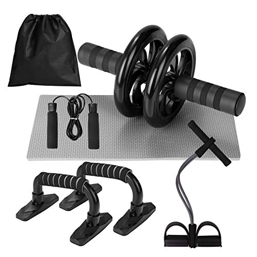 Lixada Rueda Abdominal Kit 5 en 1 con Push-UP Bar Cuerda para Saltar Esterilla de Rodilla para...*