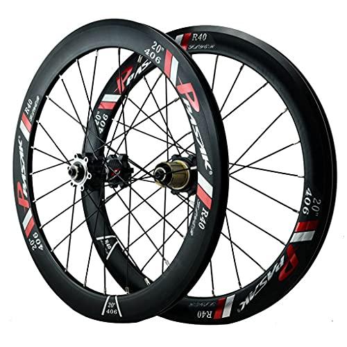 ZCXBHD 20 Pulgadas (406) Juego De Ruedas De Bicicleta Liberación Rápida Freno Disco Llantas De Aleación de Doble Pared 7 8 9 10 11 12 Velocidad (Color : Black, Size : 20in*406)