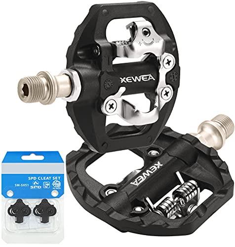TacoBey Pedales de Bicicleta compatibles con Shimano SPD Mountain Clipless Pedales, 3 sellados, Antideslizantes, de Fibra de Nailon Ligera y de aleación para BMX, MTB, Spin Trekking E-Bike