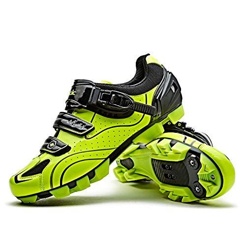 Santic Zapatillas Ciclismo MTB Zapatillas Bicicleta Montaña Hombre Zapatos Ciclismo Calzado Bicicleta Montaña Verde EU 45