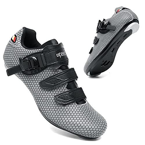 KUXUAN Zapatillas de Ciclismo para Hombre Zapatillas de Bicicleta de Carretera para Mujer Zapatos Peloton Compatibles para Carreras de Equitación en Interiores,D-7.5UK=41EU=8.5US