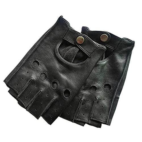 Guantes de Hombre Antideslizantes Luvas Medio Dedo Guantes de Cuero sin Dedos gants Moto-Black-L