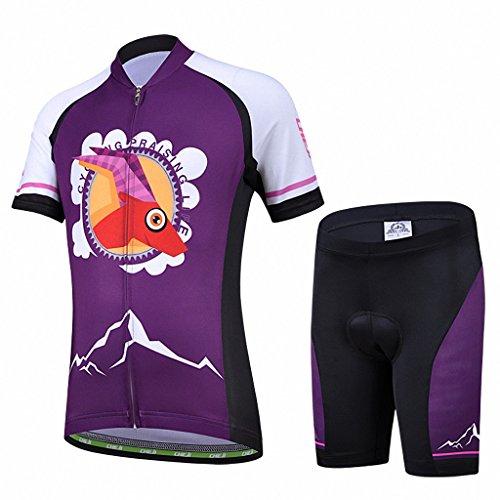 Ateid Maillot de Ciclismo y Pantalones Cortos para Niños Morado M 4-5 Años*
