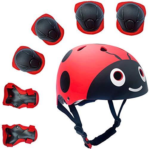 Lucky-M - Juego de 7 Almohadillas Protectoras para Deportes al Aire Libre para niños y niñas (Rodilleras, Coderas y muñequeras) (Rojo Escarabajo)