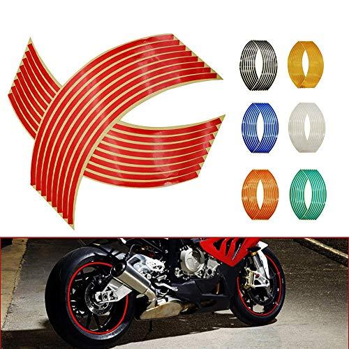 N&G Calcomanía Reflectante para Llantas de Ruedas de de 14, 17 o 18 Pulgadas para Ruedas de Motocicleta Coche Bicicleta Bicicleta Noche Reflectante decoración de Seguridad Raya Universal (Rojo)