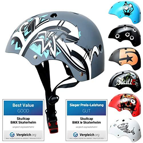 SkullCap® Kids BMX & Skate Helmet - Bicicleta Y Scooter Eléctrico, Diseño: Graffiti, Talla: S*