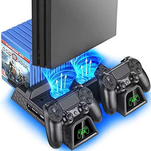 OIVO Soporte Vertical con Ventilador de Refrigeración para PS4/PS4 Pro/PS4 Slim, Estación de Carga...*