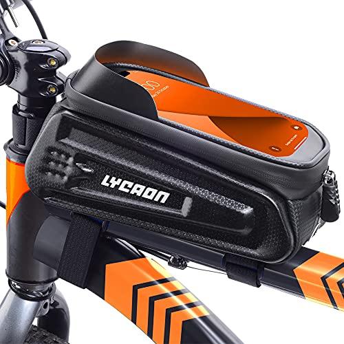 LYCAON Bolsa para el Cuadro de la Bicicleta (clásica), Funda Impermeable para el teléfono móvil con Ventana de Pantalla táctil, para iPhone, Samsung, Huawei, Smart Phone