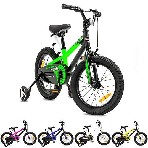 NB Parts - Bicicleta infantil para niños y niñas, BMX, a partir de 3 años, 12 pulgadas / 16 pulgadas, color verde opaco, tamaño 16