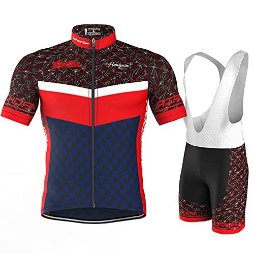 COMEIN Maillot Ciclismo Corto De Verano para Hombre, Ropa Culote Conjunto Traje Culotte Deportivo con 9D Almohadilla De Gel para Bicicleta MTB Ciclista Bici (Rojo Azul, L)