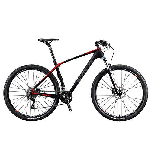 SAVADECK Bicicleta de montaña de fibra de carbono, DECK2.0 MTB 26'/27.5'/29' bicicleta de montaña completa de cola dura de 27 velocidades M2000 grupo conjunto (negro rojo, 29' 19')