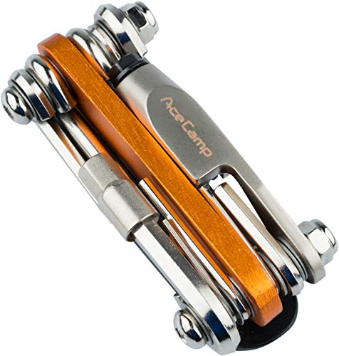 AceCamp All-in-One Bike Tool 2565 Herramienta multifunción para reparación de Bicicleta, Set 14 en 1, 187 g, Naranja, Plateado