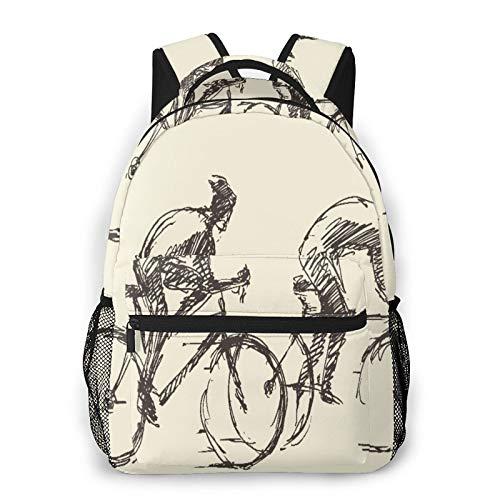 MEJX Mochila Paquete de Almacenamiento,Ciclista, hombre, bicicleta, mano, dibujado, bosquejo,Casual Bolsa de Estudiantes de la Escuela Mochila Portátil de Viaje