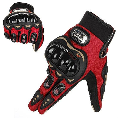 GES Men Outdoor Motorbike Waterproof Gloves Motocicleta Full Finger Touch Screen Racing Motocross Guantes (XL, Rojo)