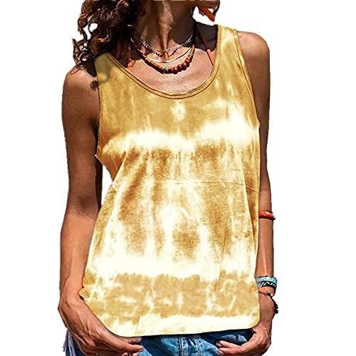 Elesoon Camiseta sin mangas para mujer, de verano, sin mangas, con tie-dye, A-caqui, 42*