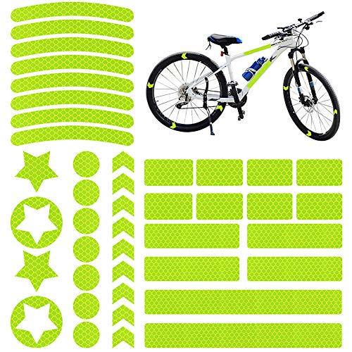 Ambolio 42 Piezas,Pegatinas Reflectantes Bicicleta,Pegatinas Reflectantes Bici,Reflectores Adhesivos Bicicleta,Reflectores Adhesivos. (Verde pentagonal)