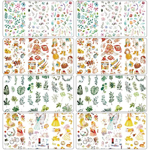 Lmbqye Pegatinas de Manuales, 24 Hojas Juegos De Cinta Decorativa Cinta De Enmascarar De Álbumes De Recortes Para Diarios, Envoltura De Regalos y Decoración De Vacaciones (4 Estilos)