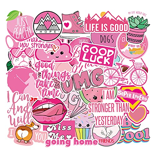 Pegatinas para Niños 40 Piezas, Rosa Pegatinas Lindas, Calcomanías Vinilos VSCO Kawaii PVC Stickers para Coche, Bicicleta, Moto, Equipaje, Portátil, Dormitorio, Funda de Viaje, Impermeable (Rosa)