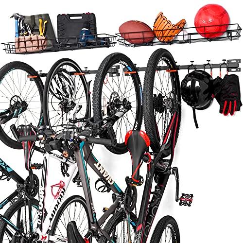 ikkle Soporte de Pared para Bicicletas, Soporte bicicletas pared con Cesta de Almacenamiento,...*