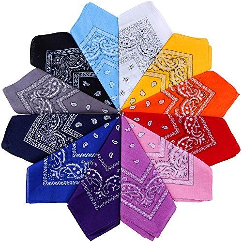 Anpro - 12 bandanas, pañuelos unisex, diadema de pelo, bufanda de cuello, decoración en algodón, estilo retro, multicolor y multifunción, para hombre y mujer, niño, 12colores, 55x 55cm, 12 Couleurs