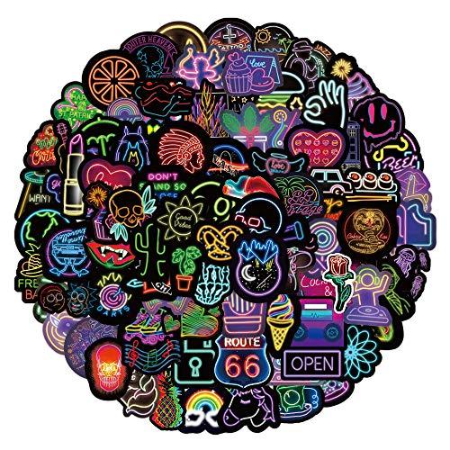 Paquete de Pegatinas(100pcs), neón Graffiti Sticker, pegatinas de vinilo para portátil, maleta, guitarra, equipaje, bicicleta