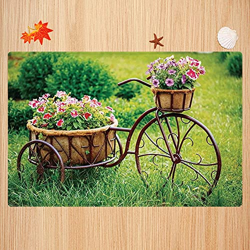 Alfombra de baño Antideslizante,Decoración de Flores, Bicicleta oxidada Antigua Vintage con una Cesta de Flores en una Foto de ja Apto para Cocina, salón, Ducha (50x80 cm)