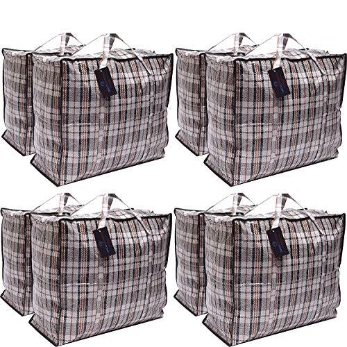 Paquete de 8 bolsas de compras XX-Large STRONG Storage Laundry - Bolsas XXL con cremallera y asas a...*
