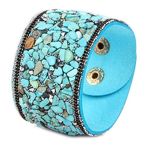 Onefeart Pulsera Bangle para Mujeres Chicas Tural Cristal Gravel Diseño Show de Modelos Wristband 19CM Azul